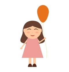 Cheerful little girl with balloons vector