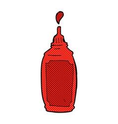 comic cartoon ketchup bottle vector image