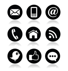 Contact web blog and social media round icons vector image vector image