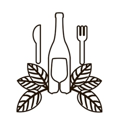 countour bottle wine and goblet with leaves vector image
