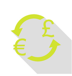 Currency exchange sign euro and uk pound pear vector