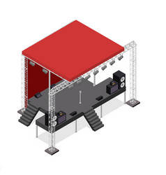 event stage podium construction isometric view vector image