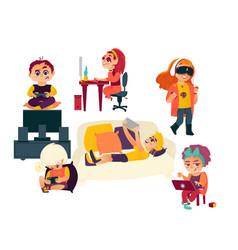 flat cartoon kids using gadgets technologies vector image