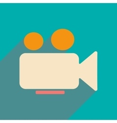 Flat with shadow icon and mobile applacation video vector
