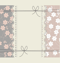 greeting card with copy space flowers and lace vector image