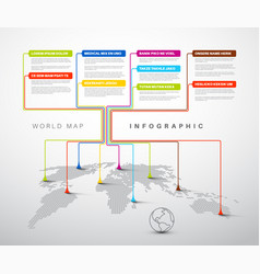 infographic light world map with pointer marks vector image vector image