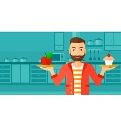 Man with apple and cake vector