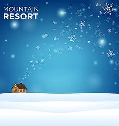 Mountain resort alone hous on snow vector