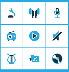 Multimedia colored icons set collection of mute vector