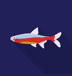 Neon fish icon flat singe aquarium fish icon from vector