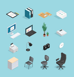 office supplies isometric icon set vector image vector image