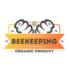 organic beekeeping vintage isolated label vector image vector image
