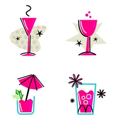 pink retro drinks vector image vector image