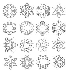 Set of cartoon contour flowers isolated on white vector