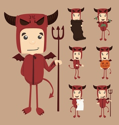 Set of devil characters poses vector