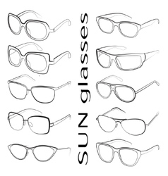 Set of the different sun glasses vector