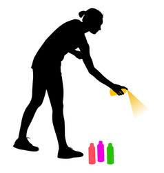 silhouette woman holding a spray on a white vector image