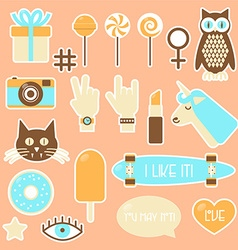 Sticker fashion badges vector image