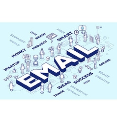 Three dimensional word email with people vector