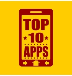 Top ten apps text on phone screen vector