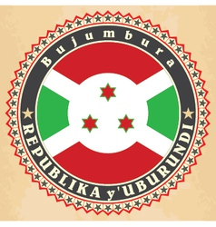 Vintage label cards of Burundi flag vector image vector image