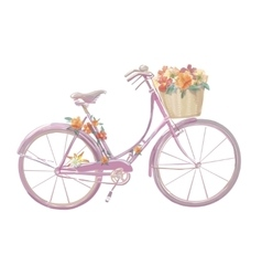 Watercolor of a pink bicycle with vector image vector image