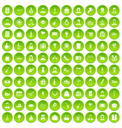 100 birthday icons set green vector