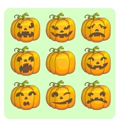 Halloween scary pumpkins set vector