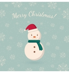 Snowman on winter backdrop vector