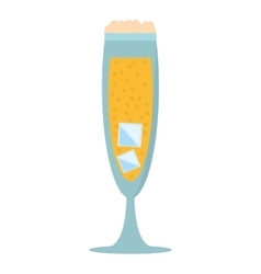 Glass cup champagne bubbles ice vector