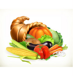 Horn of plenty harvest vegetables cornucopia 3d vector