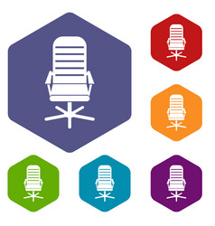 office chair icons set vector image