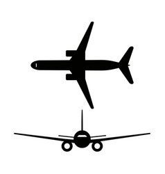 passenger airplanes icons isolated on white vector image