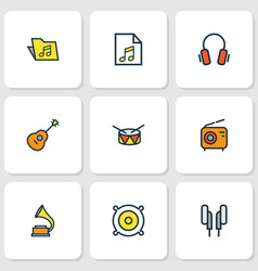 Music colored outlines set collection of set vector