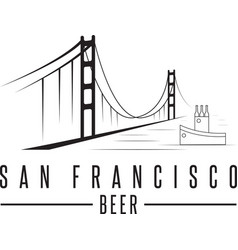 San francisco golden gate bridge with beer vector