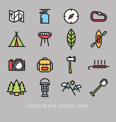Camping and outdoor icon colorful vector