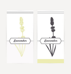 Lavender in outline and silhouette style vector