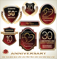 Anniversary red and black label set vector