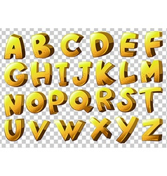 Alphabets in yellow color vector
