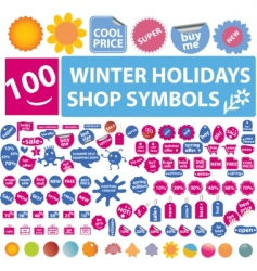 100 winter holidays shop symbols vector