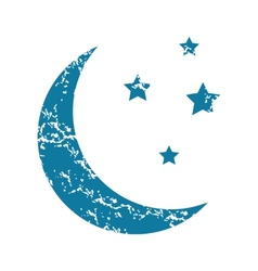 Crescent moon grunge icon vector