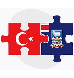 Turkey and falkland islands flags vector