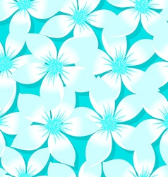 Turquoise tropical plumeria and hibiscus floral vector