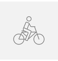Man riding bike line icon vector
