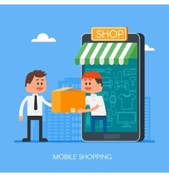 Online shopping on internet using mobile vector