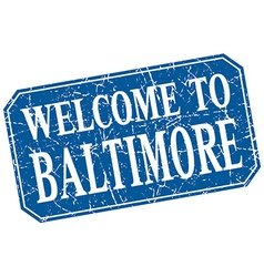 Welcome to baltimore blue square grunge stamp vector