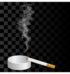 Burning cigarette and ashtray isolated vector