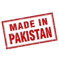 Pakistan red square grunge made in stamp vector