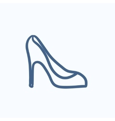 Heel shoe sketch icon vector