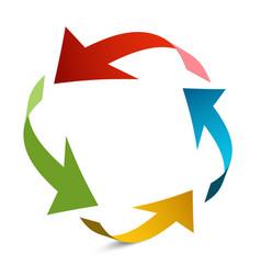 Arrows in circle paper arrow vector